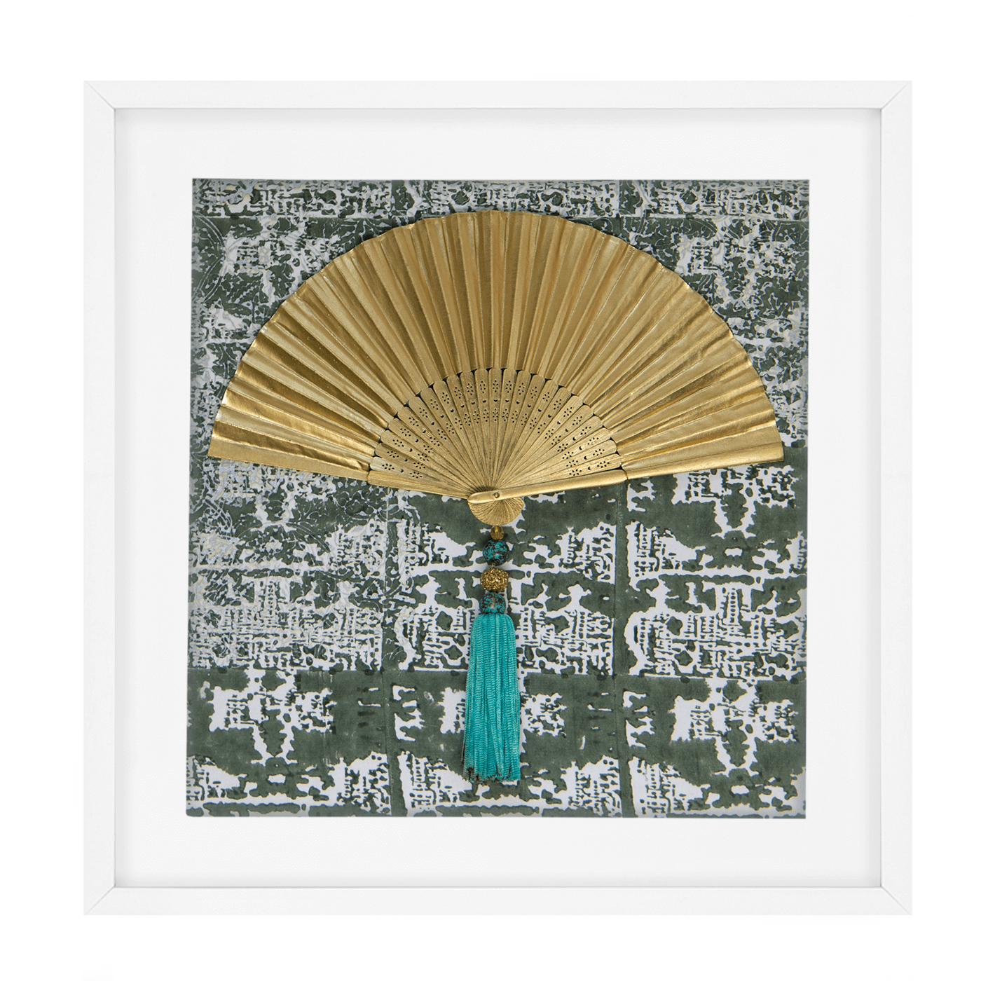 Bandhini Homewear Design Artwork Green / Primitive / 52 x 52 Fan Tassel Green Artwork 52 x 52 cm