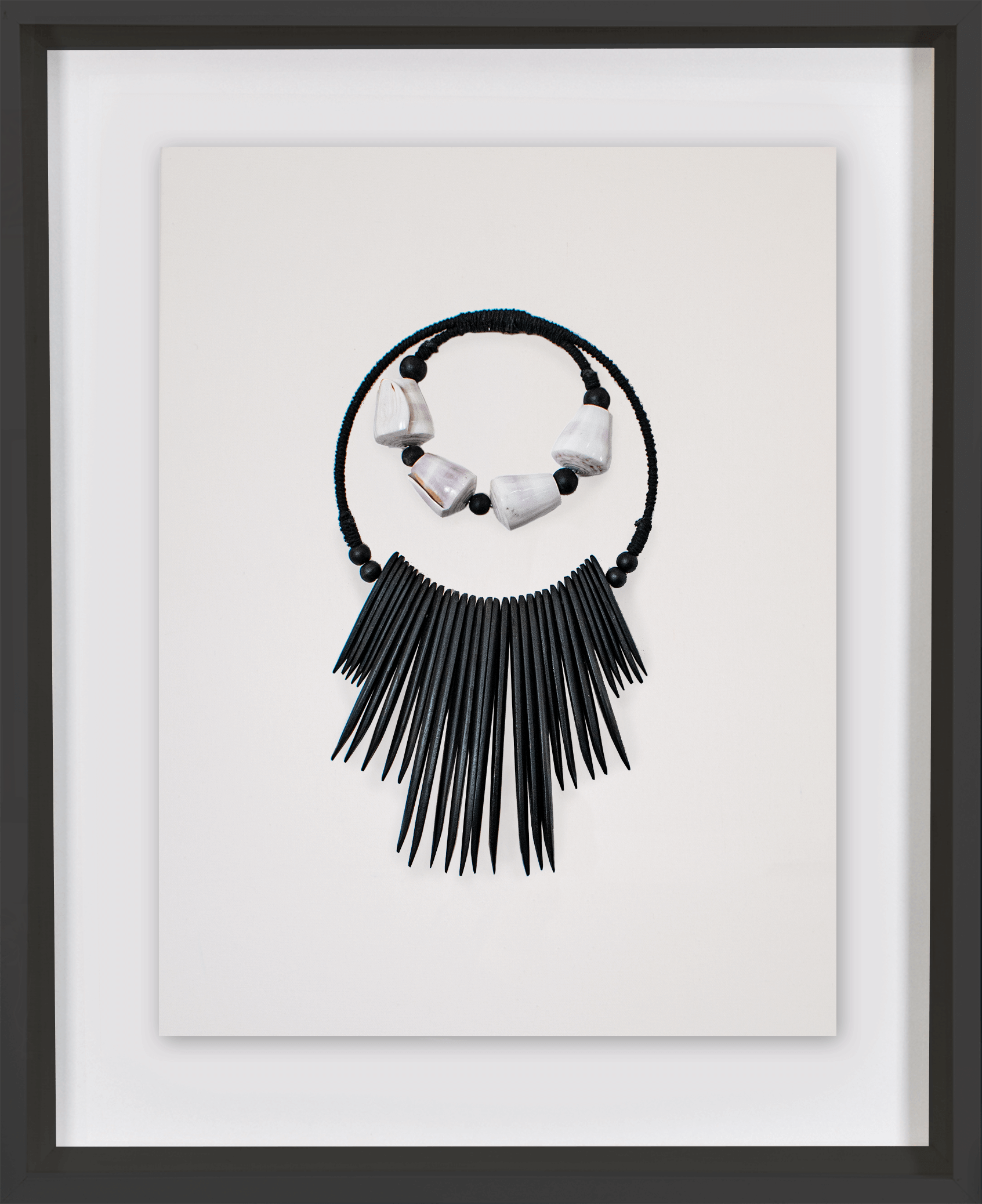 Bandhini Homewear Design Artwork natural / 26 x 33 Wooden Tribal Necklace Black Artwork 67 x 85 cm