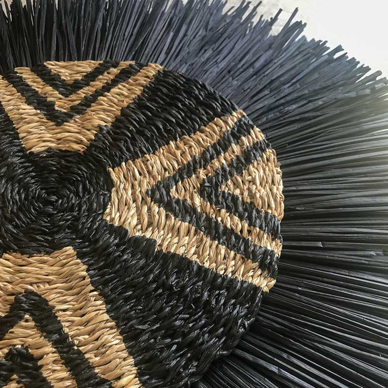 Bandhini Homewear Design Artwork natural / 67 X 85cm African Place Mat Star & Grass Ring Black on Natural Linen Artwork 67 x 85 cm