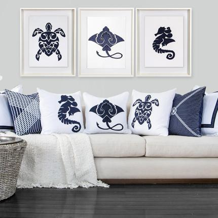 Bandhini Homewear Design Artwork Navy / 26 x 33 Sea Manta Ray Navy Artwork 67 x 85 cm