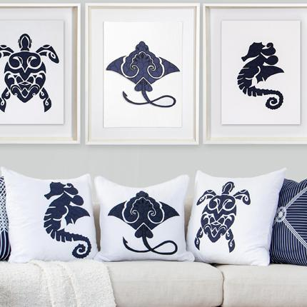 Bandhini Homewear Design Artwork Navy / 67 x 85 cm Sea Horse Navy Artwork 67 x 85 cm