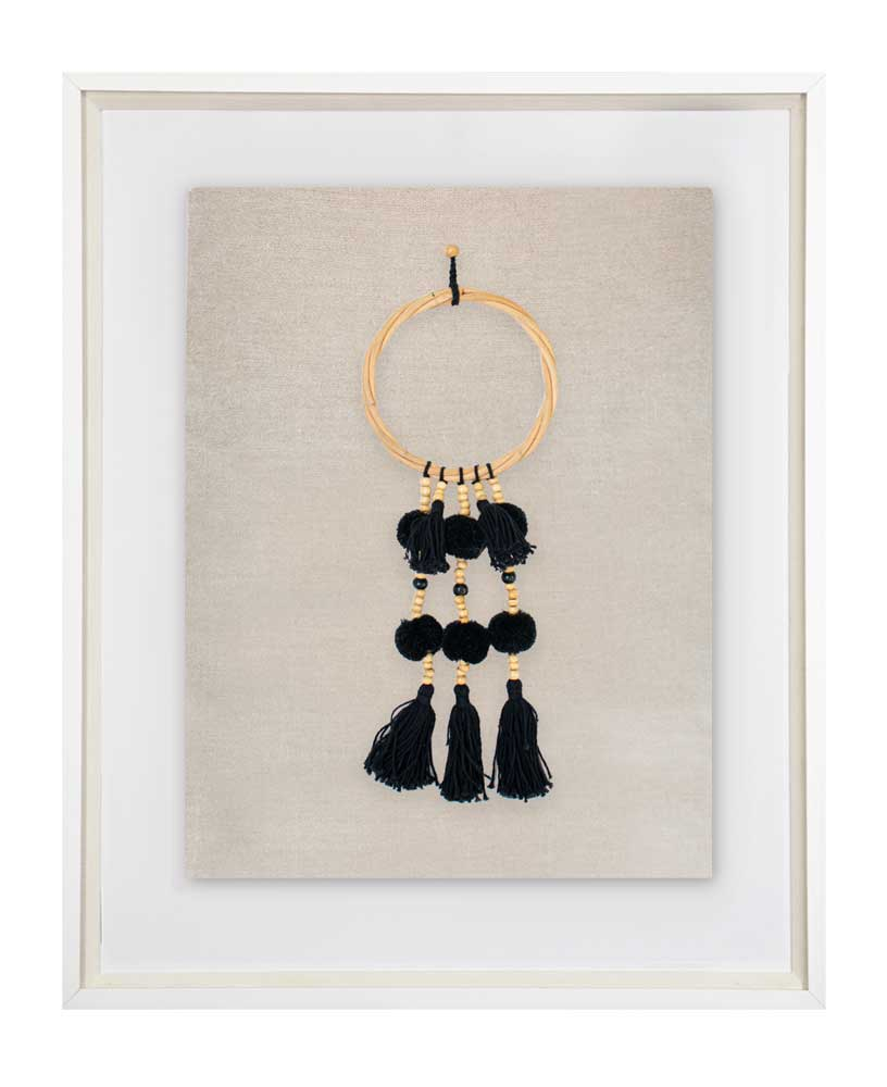 Bandhini Homewear Design Artwork Tassel Pom Pom on Natural Linen Artwork 40x50cm