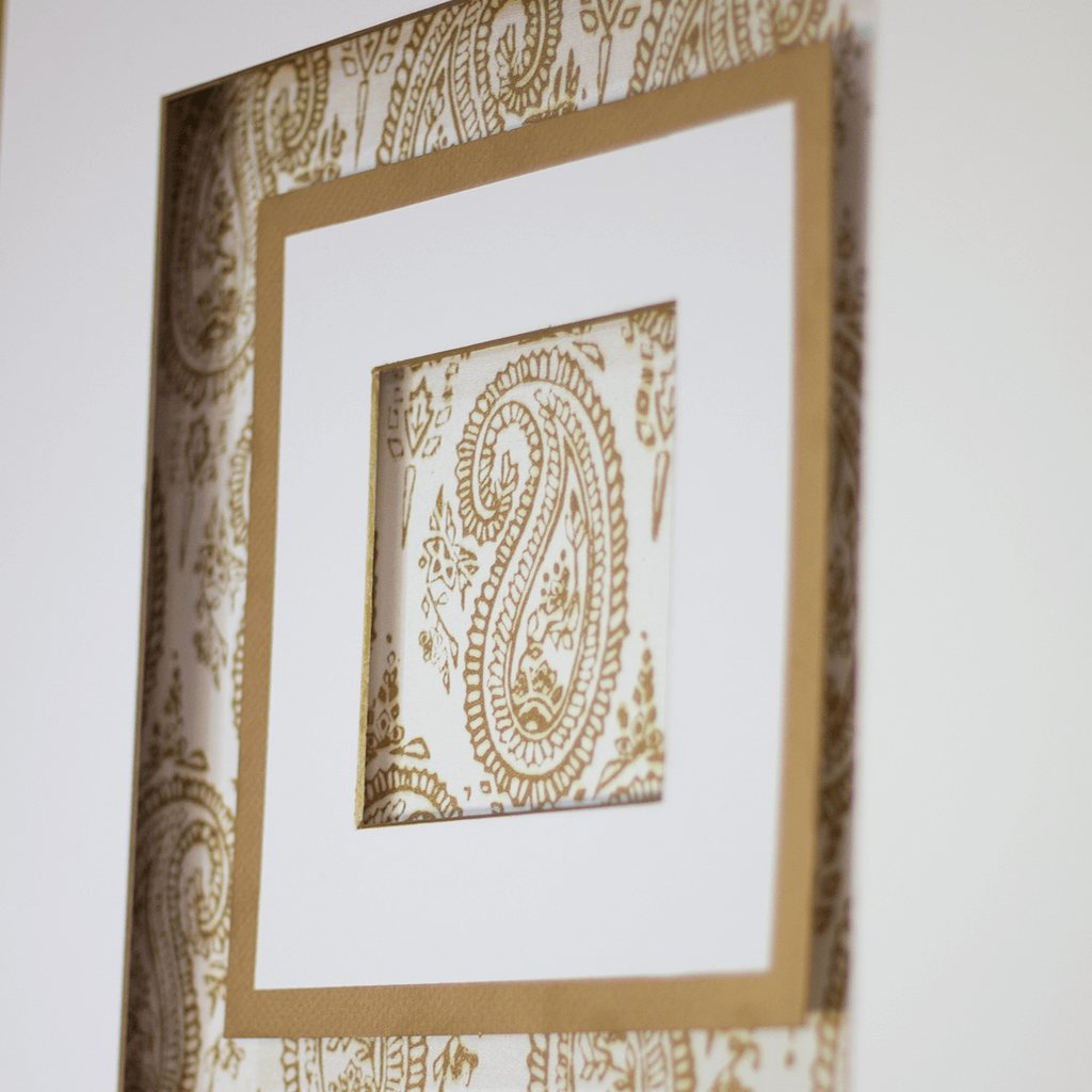 Bandhini Homewear Design Artwork White / Primitive / 52 x 52 Ruins Paisley Gold White Artwork 52 x 52 cm