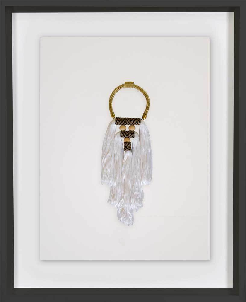 Bandhini Homewear Design Artwork White / 52 x 52 Tassel Spanish White Artwork 67cm x 85cm