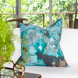 Bandhini Homewear Design Euro Cushion Blue / 25 x 25 Bone Lichen Printed Euro Cushion 65 x 65cm