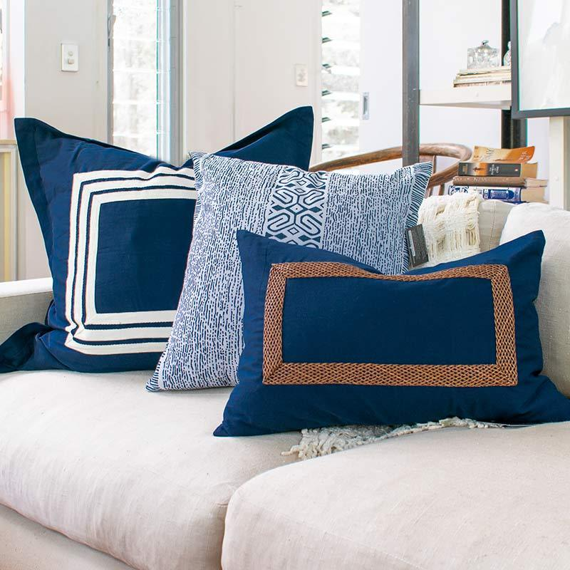 Bandhini Homewear Design Euro Cushion Navy / 65 x 65 Braid Inner Panel Navy Euro Cushion 65 x 65 cm