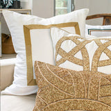 Bandhini Homewear Design Euro Cushion White / 26 x 26 Braid Gold White Euro Cushion 65 x 65cm