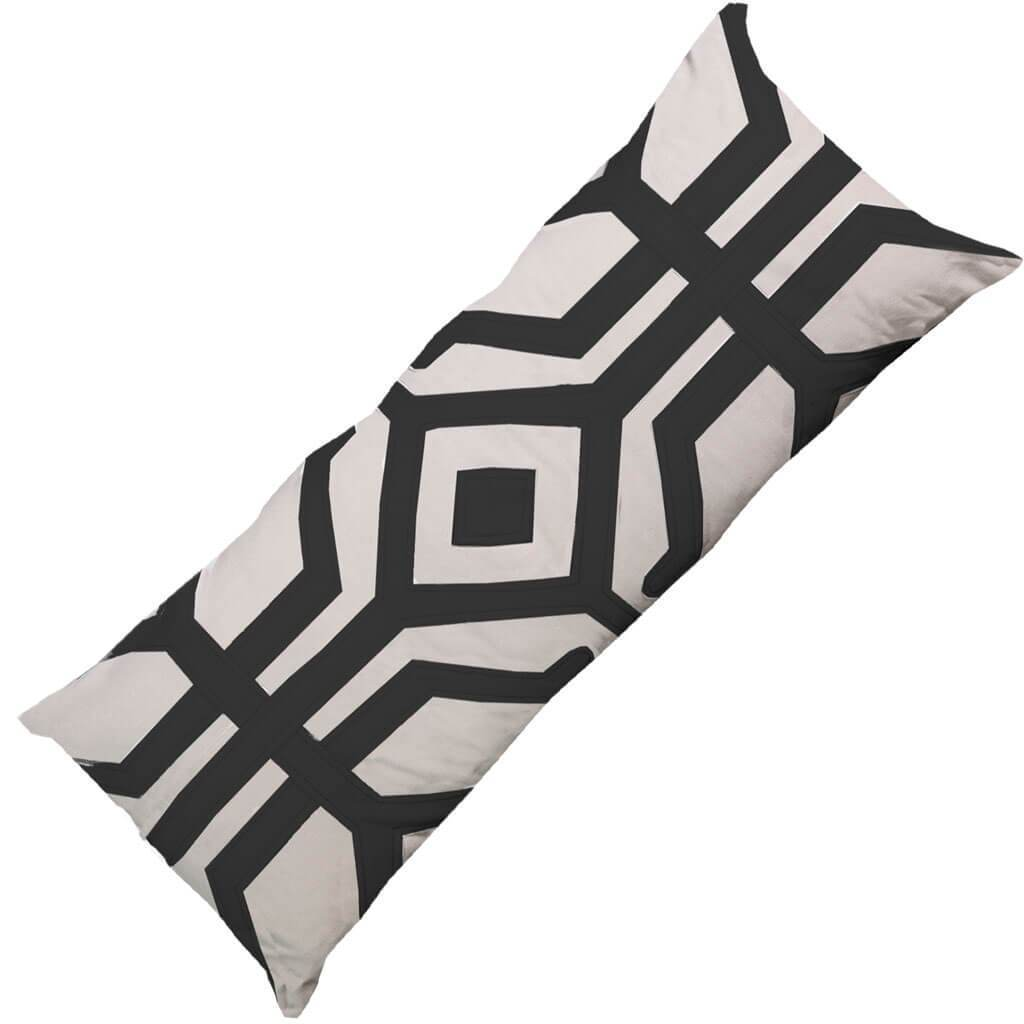 Bandhini Homewear Design Long Lumber Cushion Black Beige Earth / Primitive Tribe / 14 x 36 Moko Black Long Lumber Cushion 35 x 90 cm