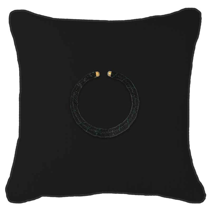 Bandhini Homewear Design Lounge Cushion Black / 22 x 22 Amulet Leather Black on Black Lounge Cushion 55x55cm