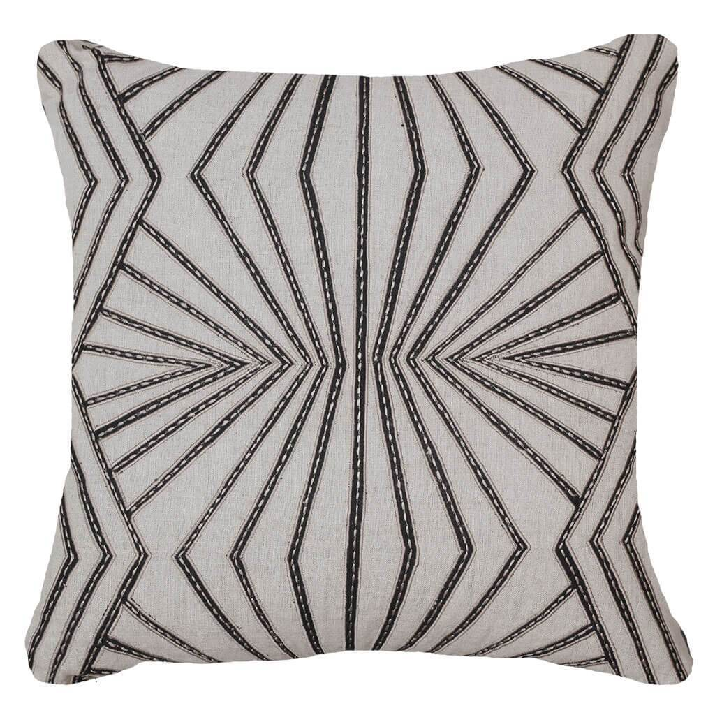 Bandhini Homewear Design Lounge Cushion Linen / Primitive Tribe / 22 x 22 Fan Black Lounge Cushion 55 x 55 cm