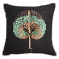 Bandhini Homewear Design Lounge Cushion Navy / Naval Sea / 22 x 22 Fan Sage on Black Lounge Cushion 55 x 55 cm