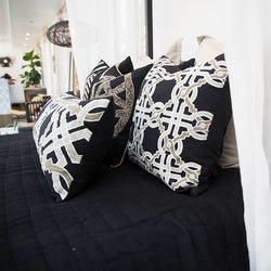 Bandhini Homewear Design Lounge Cushion Black / 22 x 22 Intertwined Black Lounge Cushion 55x55cm