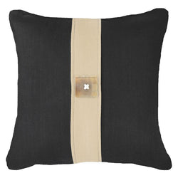 Bandhini Homewear Design Lounge Cushion Black / 22 x 22 Outdoor Horn Button Black Lounge Cushion 55 x 55cm