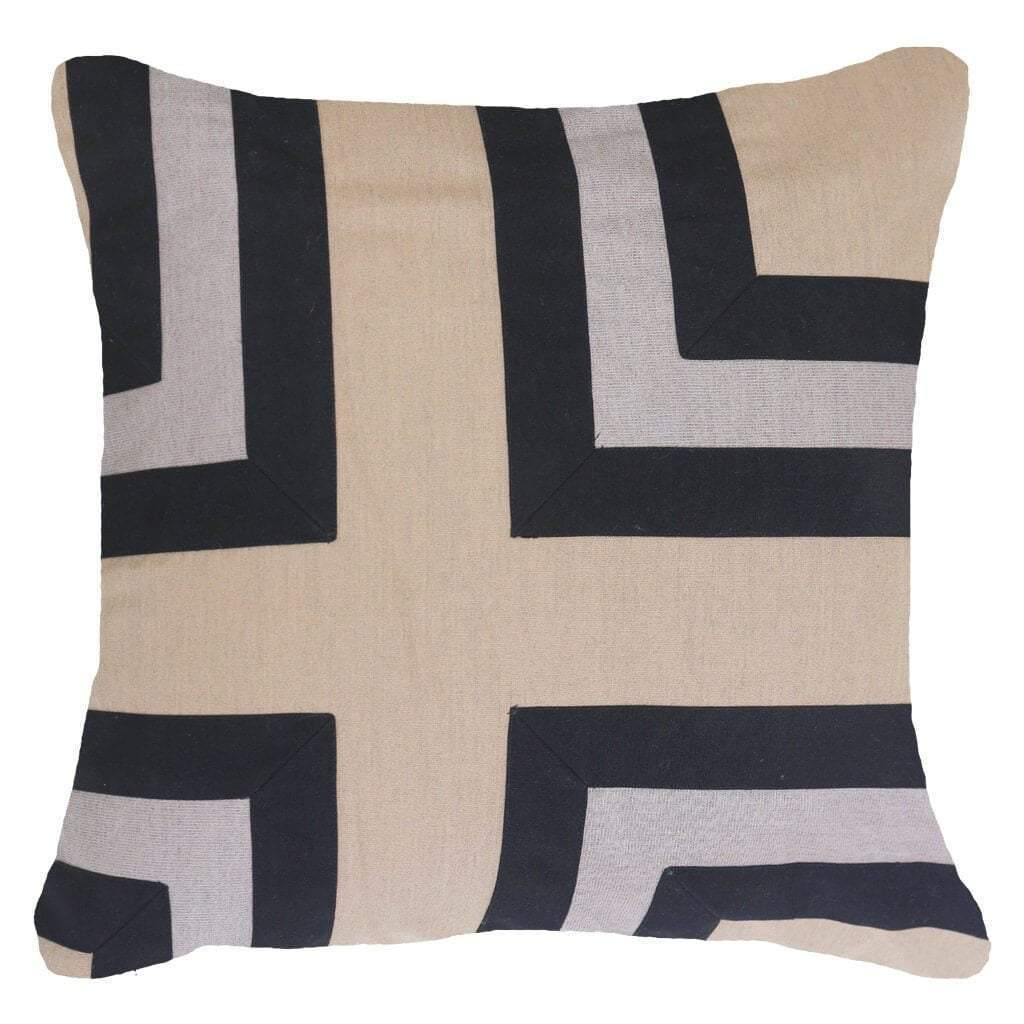 Bandhini Homewear Design Lounge Cushion Black / 22 x 22 Outdoor Regent Cross Black Lounge Cushion 55 x 55 cm
