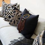 Bandhini Homewear Design Lounge Cushion Black / 22 x 22 Shoowa Kuba Black Lounge Cushion 55 x 55 cm