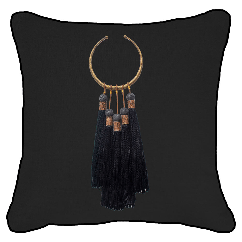 Bandhini Homewear Design Lounge Cushion Black / 22 x 22 Tassel Amulet Black on Black Linen Lounge Cushion 55 x 55 cm