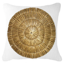 Bandhini Homewear Design Lounge Cushion Black / 22 x 22in Grass Mat Gold on White Lounge Cushion 55x55cm