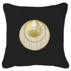 Bandhini Homewear Design Lounge Cushion Black / 22 x 22inches Shell Disc Gold Black Lounge Cushion 55 x 55cm