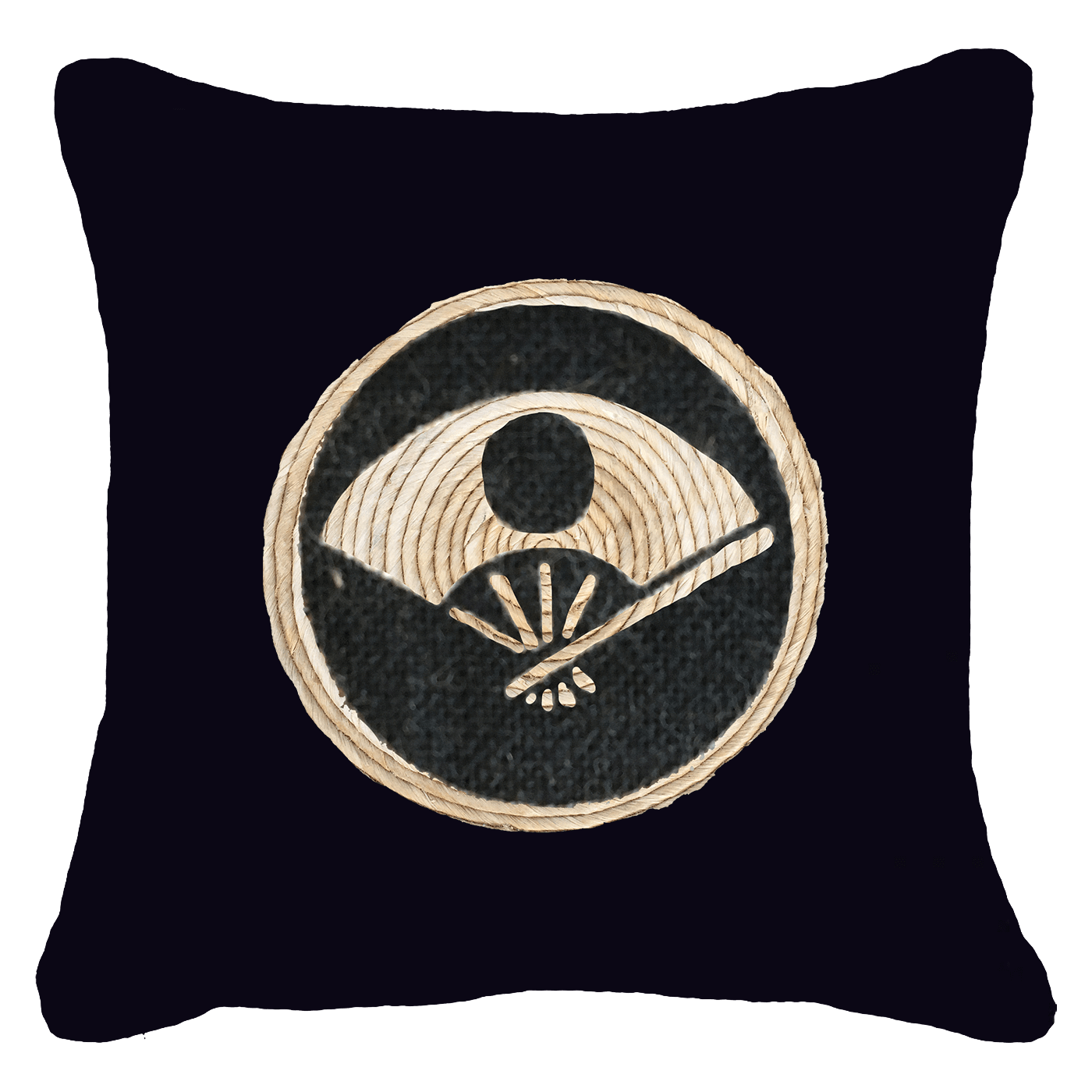 Bandhini Homewear Design Lounge Cushion Black / 55 x 55 cm Place Mat Fan Black Lounge Cushion 55 x 55 cm