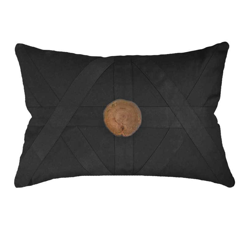 Bandhini Homewear Design Lounge Cushion Black / 55 x 55 Wood Slab Black Lounge Cushion 55 x 55cm