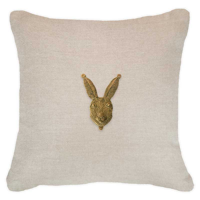 Bandhini Homewear Design Lounge Cushion Black / 55 x 55cm Metal Rabbit Head Natural Lounge Cushion 55x55cm