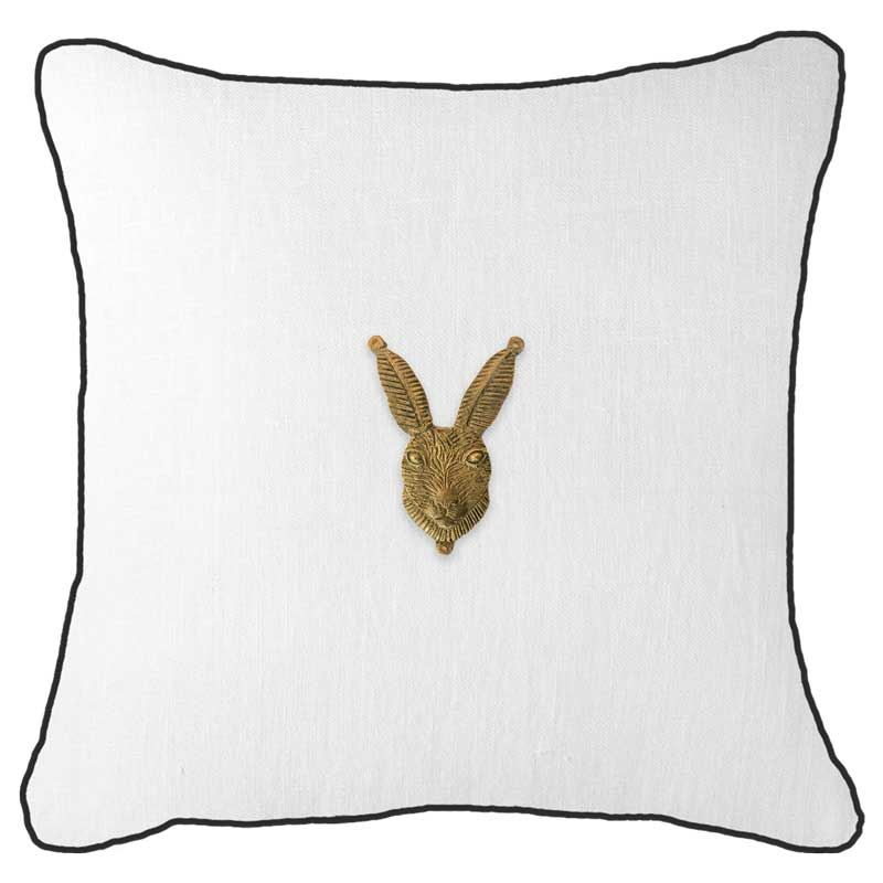 Bandhini Homewear Design Lounge Cushion Black / 55 x 55cm Metal Rabbit Head White Lounge Cushion 55x55cm