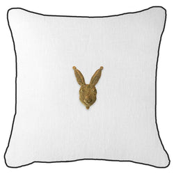 Bandhini Homewear Design Lounge Cushion Beige / 55 x 55cm Metal Rabbit Head White Lounge Cushion 55x55cm