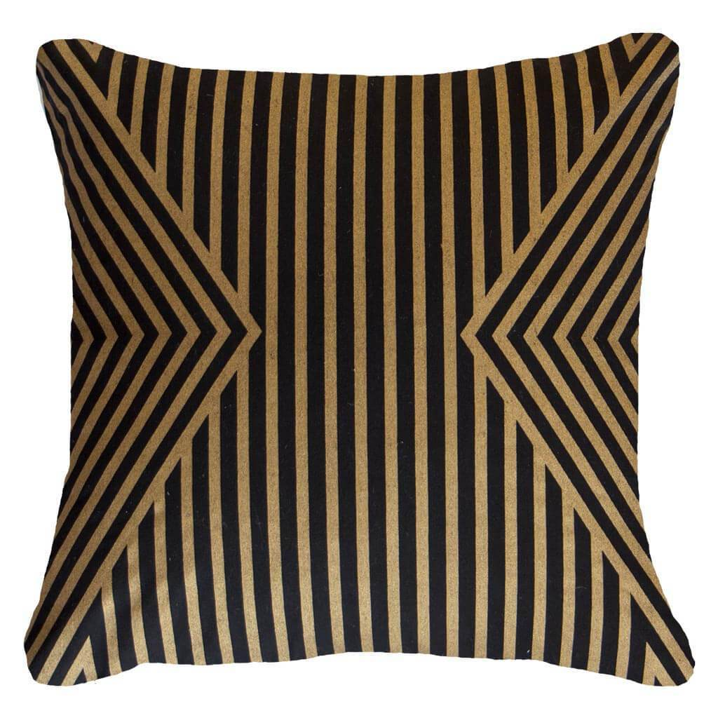 Bandhini Homewear Design Lounge Cushion Black Gold / Primitive / 22 x 22 Parasol Black Gold Lounge Cushion 55 x 55 cm