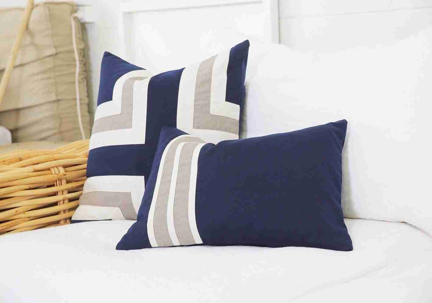 Bandhini Homewear Design Lounge Cushion Blue / 22 x 22 Outdoor Regent Cross Navy Lounge Cushion 55 x 55 cm