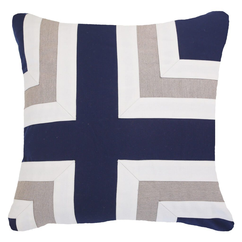 Bandhini Homewear Design Lounge Cushion Blue / Outdoor / 22 x 22 Outdoor Regent Cross Navy Lounge Cushion 55 x 55 cm