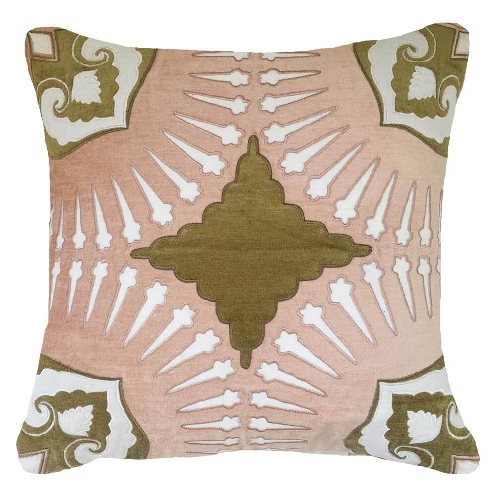 Bandhini Homewear Design Lounge Cushion Blush Sage Roman Applique Velvet Blush Sage Lounge Cushion