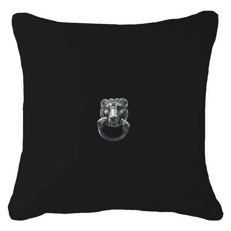 Bandhini Homewear Design Lounge Cushion Creature Metal Lion Head Silver Black Lounge Cushion 55x55cm