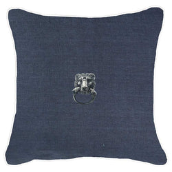 Bandhini Homewear Design Lounge Cushion Creature Metal Lion Head Silver Navy Lounge Cushion 55x55cm
