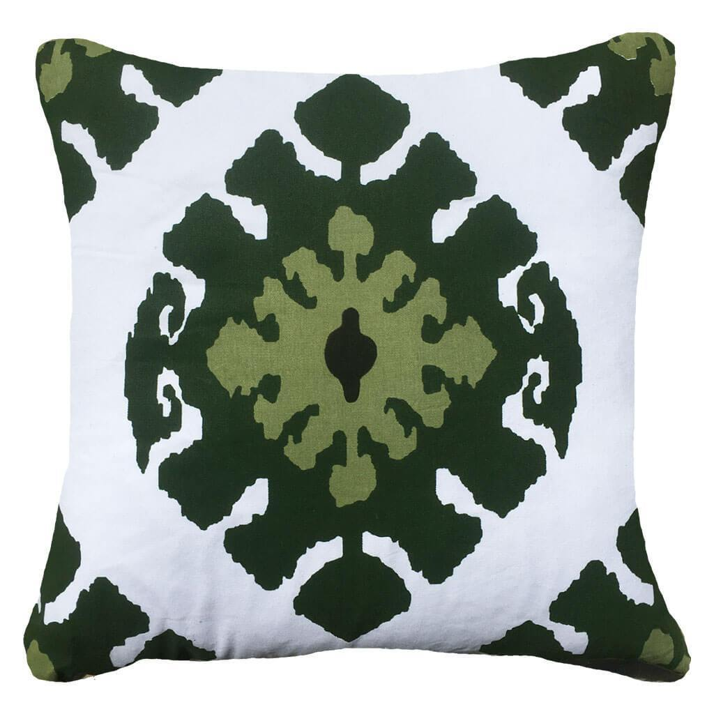 Bandhini Homewear Design Lounge Cushion Emerald / Navy Sea / 22 x 22 Inner Ikat Emerald Lounge Cushion 55 x 55cm