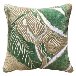 Bandhini Homewear Design Lounge Cushion Emerald / 22 x 22 Rake Applique Jungle Velvet Celadon Lounge Cushion