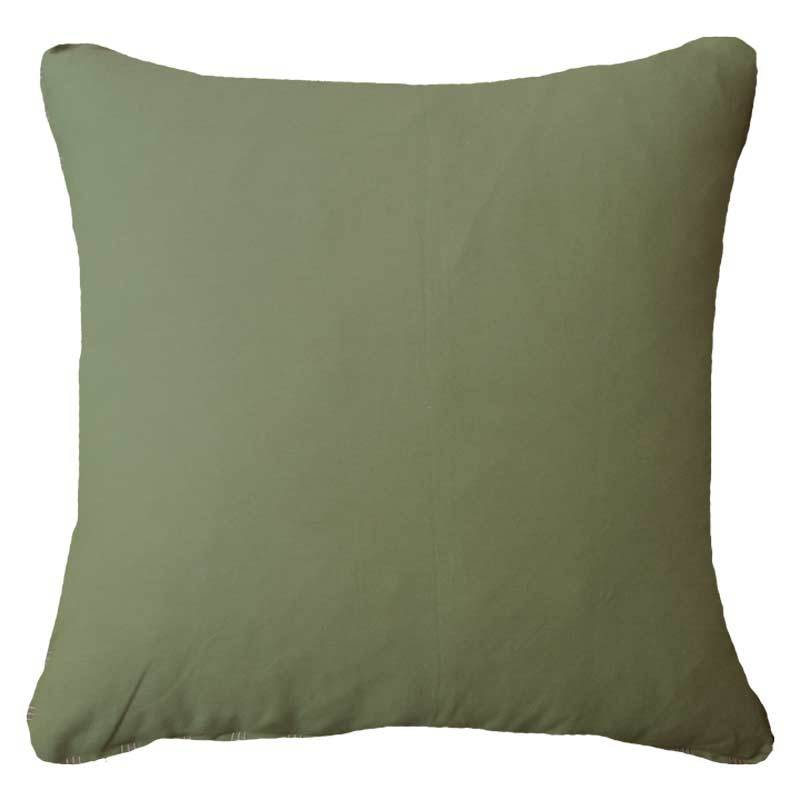 Bandhini Homewear Design Lounge Cushion Green / White / 55 x 55 cm Cotton Reverse Green White Lounge Cushion 55 x 55 cm
