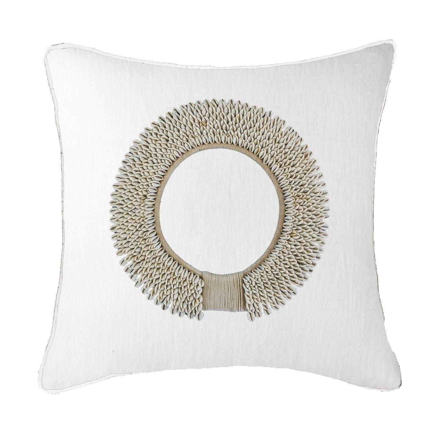 Bandhini Homewear Design Lounge Cushion Linen / Surf Tribe / 22 x 22 Shell Ring White Lounge Cushion 55 x 55 cm