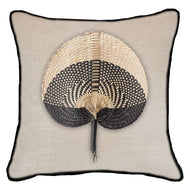Bandhini Homewear Design Lounge Cushion Natural / Surf / 22 x 22 Fan Black on Natural Lounge Cushion 55 x 55 cm