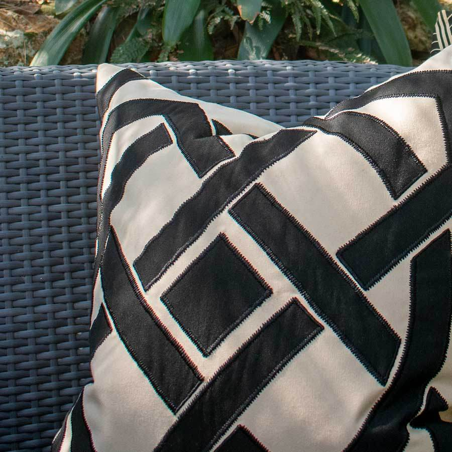 Bandhini Homewear Design Lounge Cushion Natural / 22 x 22 Outdoor Dial Black & Beige Lounge Cushion 55 x 55 cm