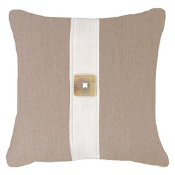 Bandhini Homewear Design Lounge Cushion Natural / 22 x 22 Outdoor Horn Button Natural Lounge Cushion 55 x 55cm