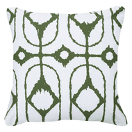 Bandhini Homewear Design Lounge Cushion Natural / Outdoor / 22 x 22 Outdoor Inner Ikat Diamond Green Lounge Cushion 55 x 55 cm