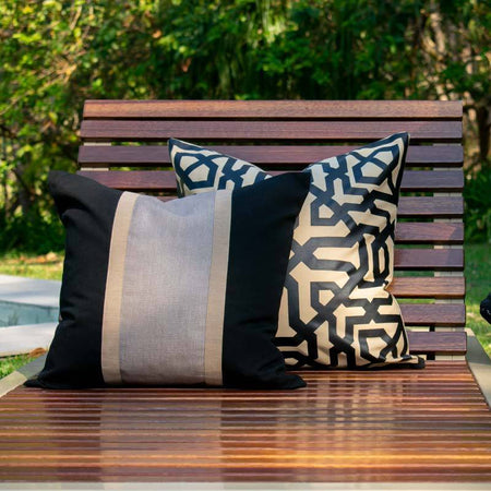 Bandhini Homewear Design Lounge Cushion Natural / 22 x 22 Outdoor Moroccan Natural and Black Lounge Cushion 55 x 55 cm