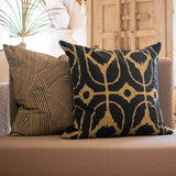 Bandhini Homewear Design Lounge Cushion Natural / 22 x 22 Rake Rope Black Lounge Cushion 55 x 55 cm