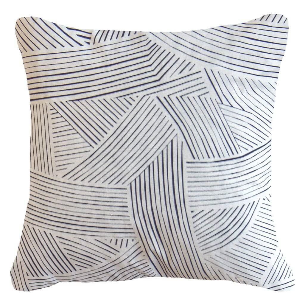 Bandhini Homewear Design Lounge Cushion Natural / Primitive / 22 x 22 Rake Rope Navy Lounge Cushion 55 x 55 cm