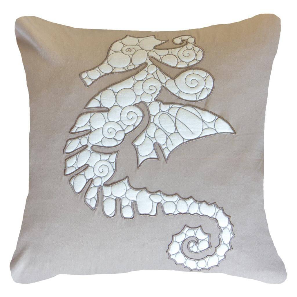 Bandhini Homewear Design Lounge Cushion Natural / Primitive / 22 x 22 Sea Horse Natural Lounge Cushion 55 x 55 cm