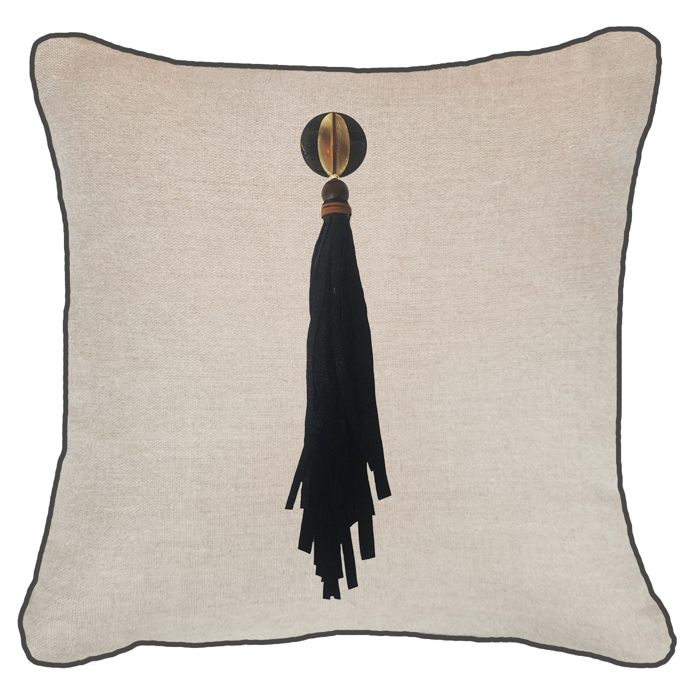 Bandhini Homewear Design Lounge Cushion Natural / 22 x 22 Tassel Mex on Natural Linen Lounge Cushion 55 x 55 cm