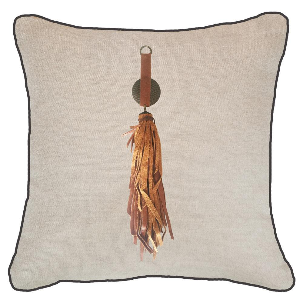 Bandhini Homewear Design Lounge Cushion Natural / 22 x 22 Tassel Tex on Natural Linen Lounge Cushion 55 x 55 cm