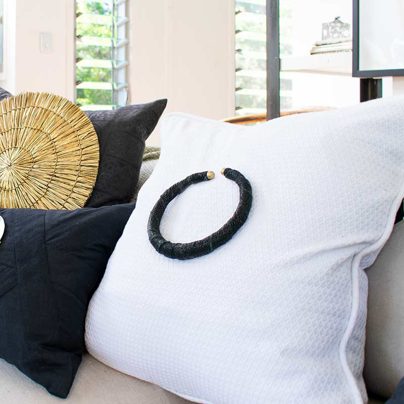 Bandhini Homewear Design Lounge Cushion Natural / 22 x 22in Amulet Leather Black on Natural Lounge Cushion 55x55cm