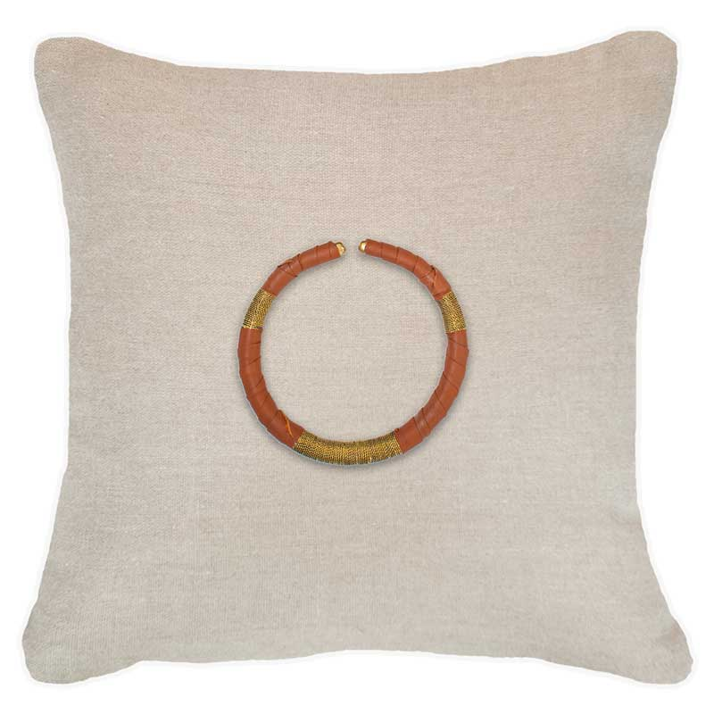 Bandhini Homewear Design Lounge Cushion Natural / 22 x 22in Amulet Leather Tan on Natural Lounge Cushion 55x55cm