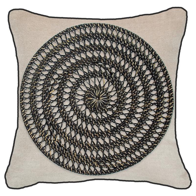Bandhini Homewear Design Lounge Cushion Natural / 22 x 22in Grass Mat Black on Natural Linen Lounge Cushion 55x55cm